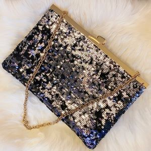 Dolce & Gabbana Silver Sequined Evening Bag